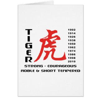 Año del regalo chino de la astrología del tigre tarjeta de felicitación