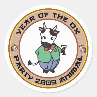 Año del regalo del buey etiqueta redonda