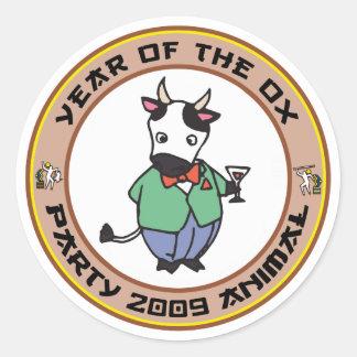 Año del regalo del buey pegatinas redondas