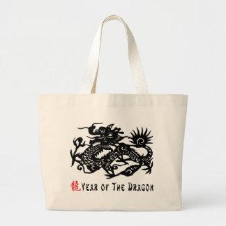 Año del regalo del corte del papel del dragón bolsa de tela grande
