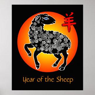Año del rojo chino del negro del zodiaco de las póster