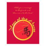 Año del rojo de la llama del caballo tarjetas publicitarias