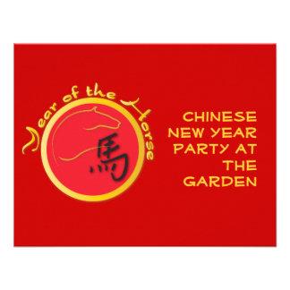 Año del rojo de la llama del caballo invitación