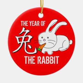 Año del rojo del ornamento del conejo adorno navideño redondo de cerámica