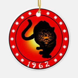 Año del tigre 1962 adorno navideño redondo de cerámica