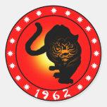 Año del tigre 1962 pegatina redonda