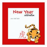 Año del tigre Cutie Invitación 13,3 Cm X 13,3cm