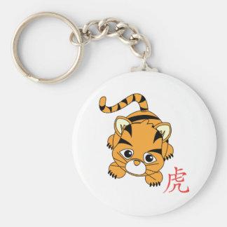Año del tigre Cutie Llavero Redondo Tipo Pin