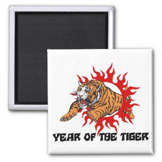 Año del tigre imán cuadrado