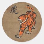 Año del tigre pegatina redonda