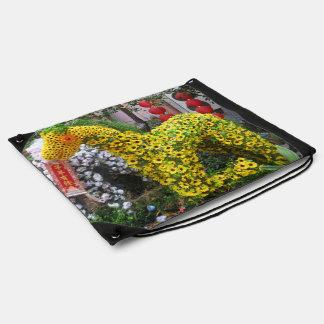 Año del Topiary chino de la flor del 春節馬 del cabal Mochila