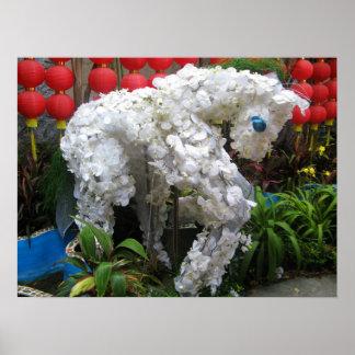 Año del Topiary chino de la flor del 春節馬 del cabal