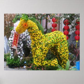 Año del Topiary chino de la flor del 春節馬 del cabal Posters