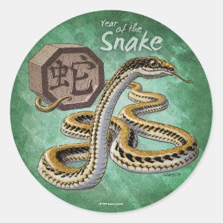 Año del zodiaco del chino de la serpiente etiquetas redondas