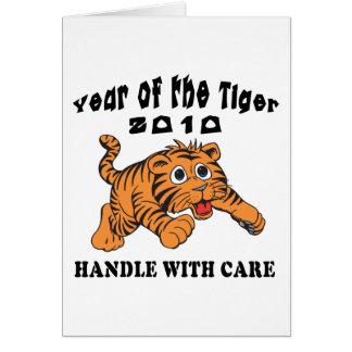 Año del zodiaco del tigre 2010 de bebé del tigre tarjeta de felicitación