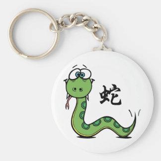 Año divertido de la serpiente llavero redondo tipo pin
