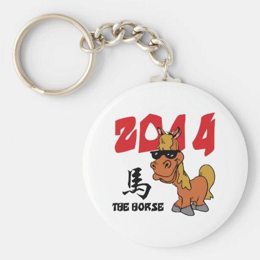 Año divertido del caballo 2014 llavero personalizado