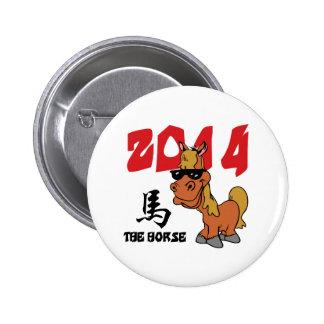 Año divertido del caballo 2014 pin redondo 5 cm