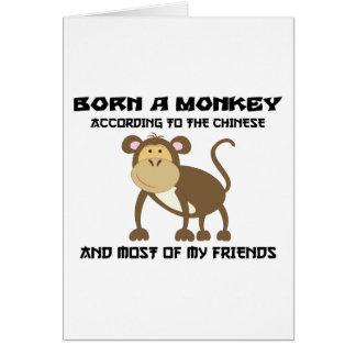 """Año divertido del mono """"llevado un mono """" tarjeta de felicitación"""