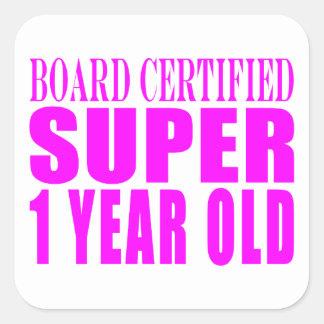 Año estupendo certificado tablero de los calcomanías cuadradass personalizadas