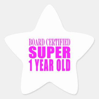 Año estupendo certificado tablero de los pegatina en forma de estrella