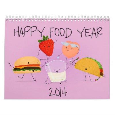 Año feliz 2014 de la comida calendario