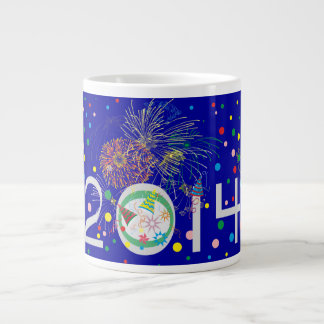 Año feliz 2014 taza extra grande