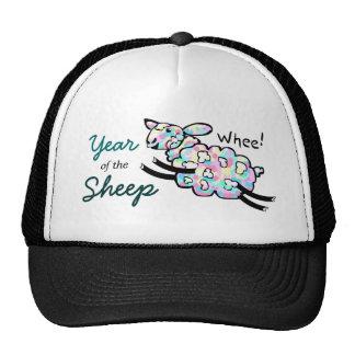 Año feliz colorido de las ovejas del salto Whee de Gorros Bordados