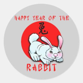 Año feliz de las tarjetas del conejo, ropa, etiquetas redondas