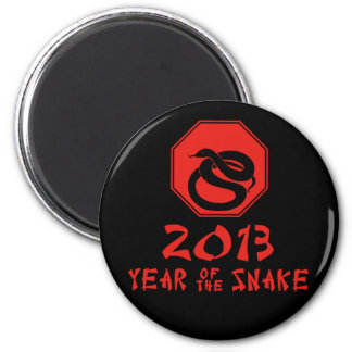 Año feliz del calendario del chino de la serpiente imán redondo 5 cm