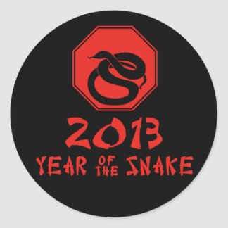 Año feliz del calendario del chino de la serpiente pegatina redonda