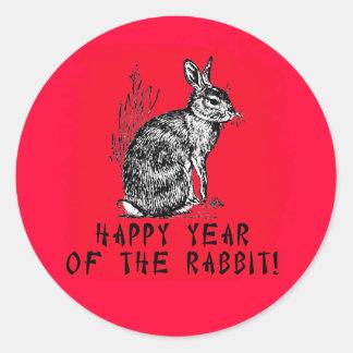 Año feliz del conejo con el ejemplo del conejo pegatinas redondas