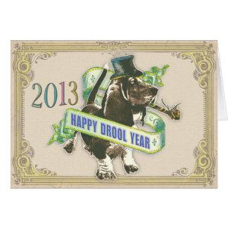Año feliz del Drool (tarjeta del afloramiento de l Tarjeta De Felicitación