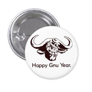 Año feliz del Gnu Pin Redondo 2,5 Cm