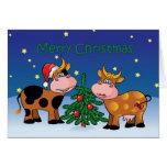 Año feliz del MOO de las vacas del navidad Tarjetas