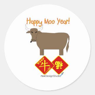 Año feliz del MOO Pegatina Redonda
