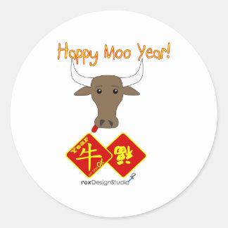 Año feliz v2 del MOO Pegatina Redonda