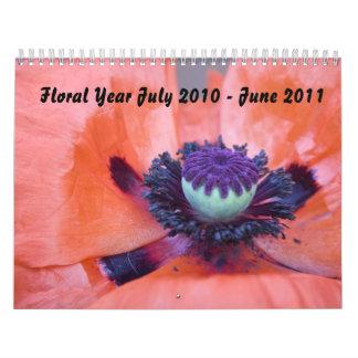 Año floral julio de 2010-junio de 2011 calendarios