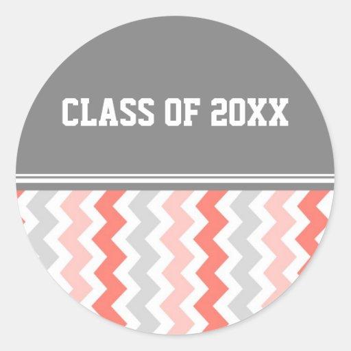 Año gris del personalizado de la graduación de los pegatina redonda