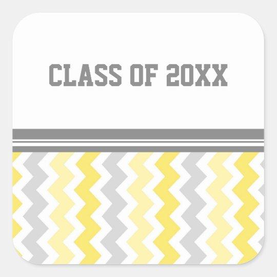 Año gris del personalizado de la graduación de los pegatina cuadrada