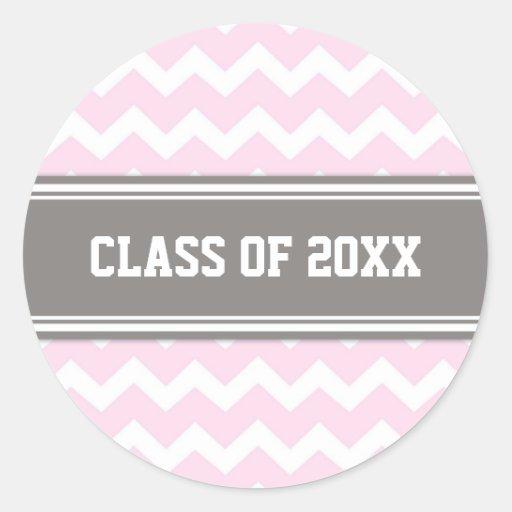 Año gris rosado del personalizado de la graduación pegatina redonda