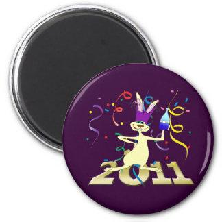 Ano hace a Coelho 2011 años del fiesta del conejo Imán Redondo 5 Cm