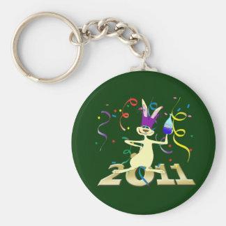 Ano hace a Coelho 2011 años del fiesta del conejo Llavero Redondo Tipo Pin
