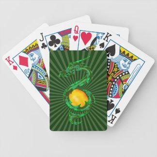 año hinese del verde de jade del dragón baraja de cartas