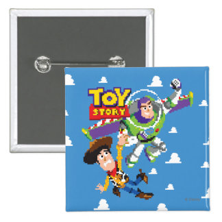 Año ligero de Toy Story 8Bit Woody y del zumbido Pin Cuadrado
