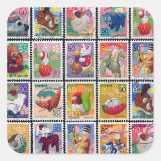 Año lindo de Japón de modelo animal del sello Pegatina Cuadrada