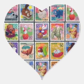 Año lindo de Japón de modelo animal del sello Pegatina En Forma De Corazón