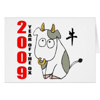 Año lindo de la camiseta del buey tarjetón