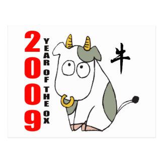 Año lindo de la camiseta del buey tarjetas postales