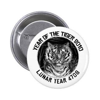 Año lunar 4708 años del tigre 2010 pin redondo 5 cm